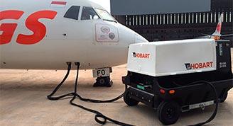 Hobart Ground Power 4400-Diesel GPU on Aircraft-90CU24C